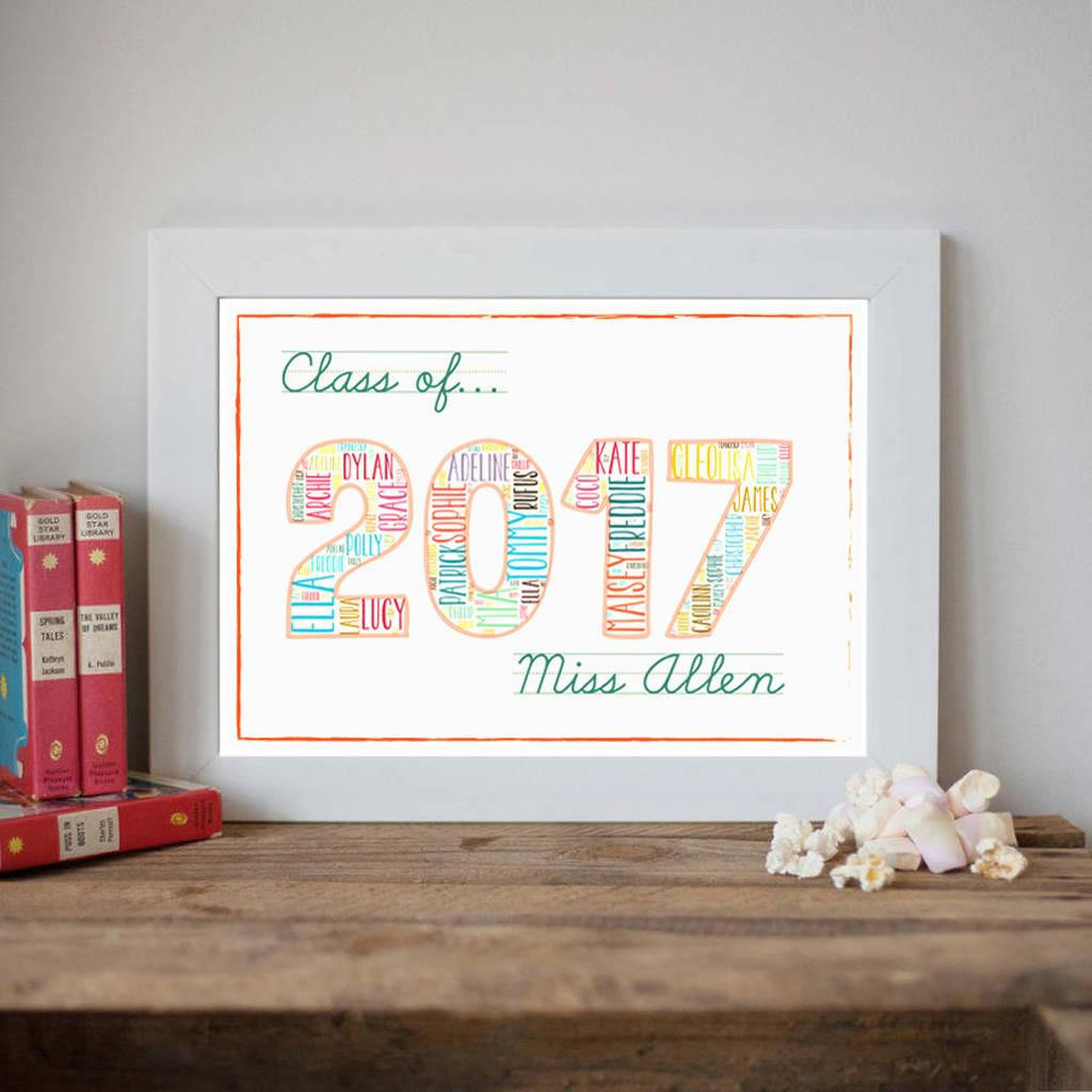 original_personalised class of 2017 teacher print