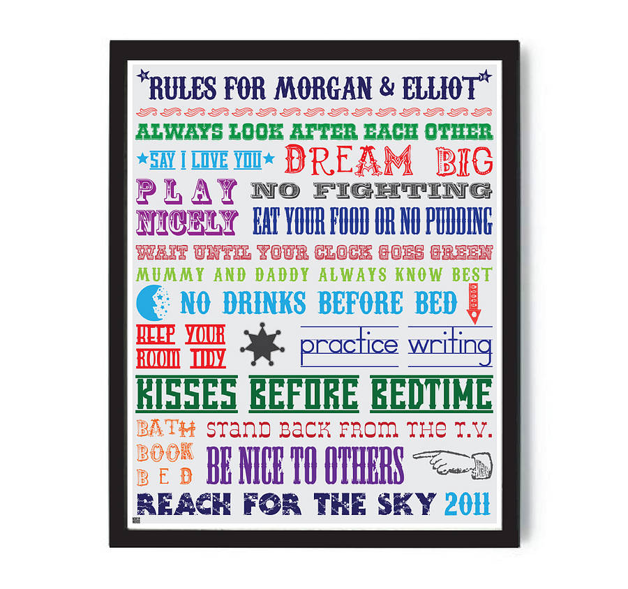 Personalised Family House Rules Print More Than Words