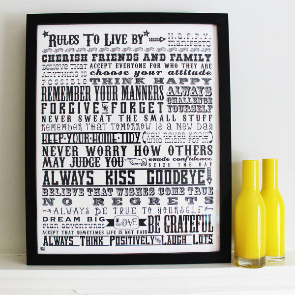 sku177-01-'Rules To Live By' Screen Print