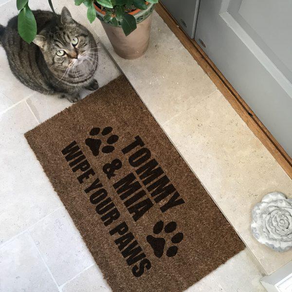 Personalised 'Wipe Your Paws' Pet Doormat